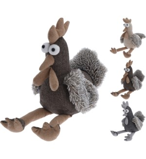 HZ1901920-Chicken Doorstopper, 3Asst, 10 in (Brown, White, Grey)