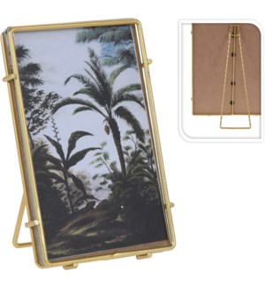 HZ1300510-Gold Photo Frame, S,  3Asst, 3x2x5 inch, Metal