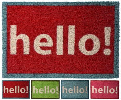 A35400560-HELLO! Cocos Doormat, 4/Asst, 15.7x24x.7 inches On sale 40% off -*Last Chance* FD SO DISC