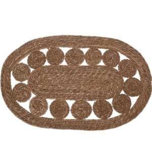 """""""KR2002190 RUG OVAL, CATTAIL LEAF MATERIAL, SIZE;"""""""
