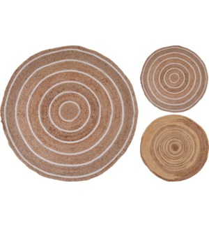 """A35920340 RUG ROUND BRANDED JUTE, DIA 90CM. 2 AS"""