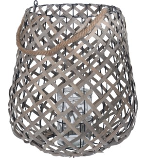 450000120 RHETT LANTERN WOOD WITH GLASS HOLDER