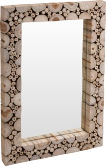 J11300880 - Mirror w/Teakwood Frame, Rectangular Size 29.5X19.5X2 in.