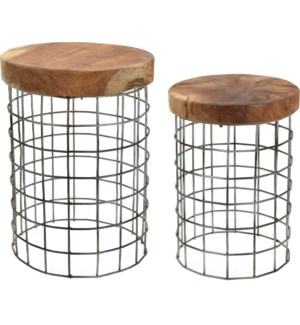 J11300000 - Brava Round Side Table, Set/2, Teakwood with metal grid base, S:10x14 in L:12x16 in.