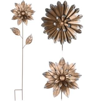"""""""Garden Pick Flower, Metal, Golden Color. 3 Ass. Designs"""""""