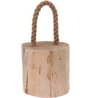 Door Stopper Teak Wood With Rope. Dia: 14Xh14cm