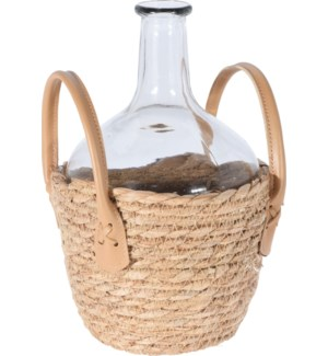 """""""Wine Bottle/Vase, Large, Glass With Seagrass Cover"""""""