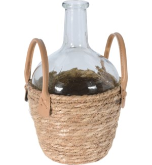 """""""Wine Bottle/Vase, Small, Glass With Seagrass Cover"""""""