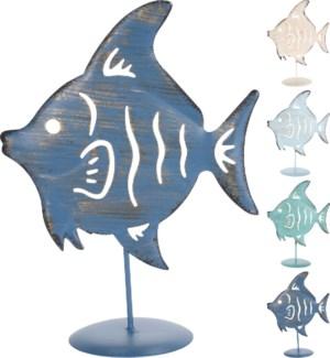 """Fish Deco On Base 4Ass Metal, Metal"""
