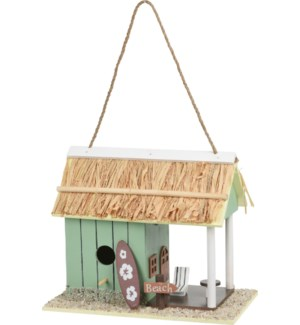 """""""Bird House Wood, Painted Body, Reed Roof. 2Ass. Colors."""""""