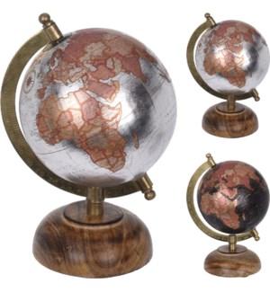 """""""Globe, Metallic, Mango Wood Base,Iron With Brass Stand"""""""