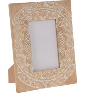 """""""Photo Frame, With White Carving Finish, Mango Wood"""""""