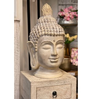 """095705550 BUDDHA HEAD, MEDIUM, CREAM ANTIQUE FIN"""