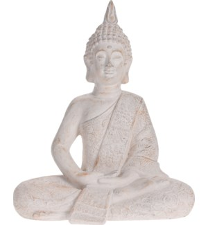 """095705570 BUDDHA SITTING,  SMALL, CREAM ANTIQUE"""