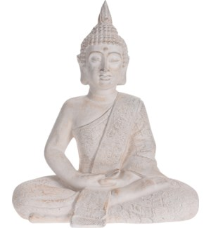 """095705580 BUDDHA SITTING, MEDIUM, CREAM ANTIQUE"""