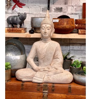 """095705590 BUDDHA SITTING, LARGE, CREAM ANTIQUE F"""