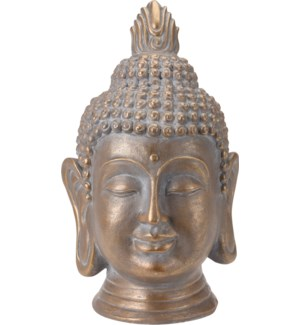 """095705630 BUDDHA HEAD, LARGE, GOLD ANTIQUE FINIS"""