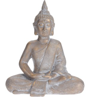 """095705650 BUDDHA SITTING, MEDIUM, GOLD ANTIQUE F"""