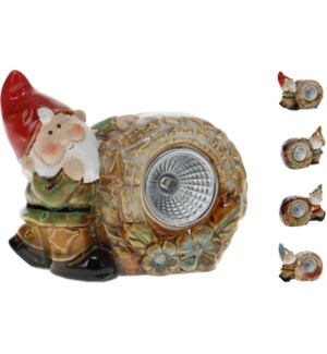 """Dwarf With Rock/Trunk And Solar Light, Porcelain, 4 Ass."""