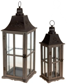Shaw Lantern Set/2, wood/metal top. S: 7.9x7.9x23.6 L: 11x11x30 inch.CE8100200