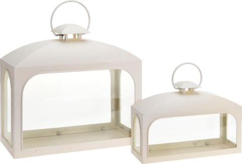 AAE314060 - City Lantern, Set/ 2, White, S:13.7X5.3X9.8 Inches L:17.7X7.5X16.5 inches