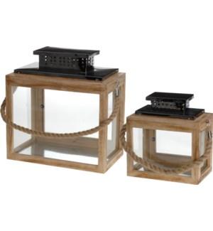 Rect. Lantern w/Rope, Set/2, L: 12x7x12 S:9x5x12 inches  On sale 30 percent off!