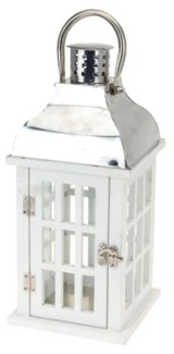 HZ1200020 - Josephine Lantern, White w/Stainless Steel top, 8x8x18.5 in