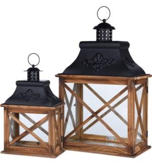 CAT300060-Lana Lantern, Set/2, Wood w/metal S: 8x4.7x13.5 L: 12x7x20 in