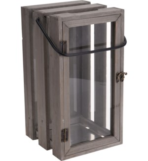 500000500-Wooden Crate Lantern, 8x14x7 in