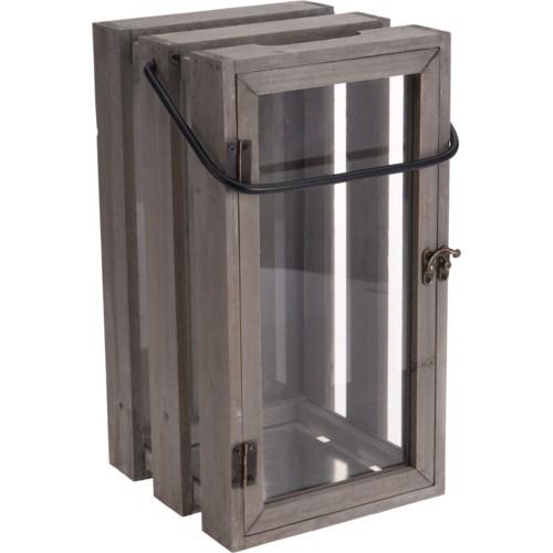 500000500-Wooden Crate Lantern, 8x14x7 in