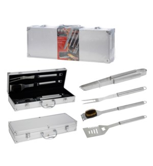 C80210330. BBQ Utensils Set4 pieces Stainless Steel. Aluminium Case. Tong. Brush. Turner. Fork. 18.1