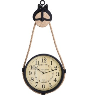 NB1402950 CLOCK ON PULLEY WITH ROPE. TOTAL SIZE