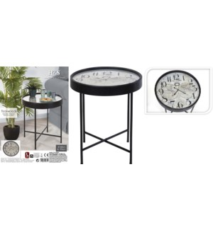 """Y36200380 TABLE WITH CLOCK 63X63X70CM, 1X AA BAT"""