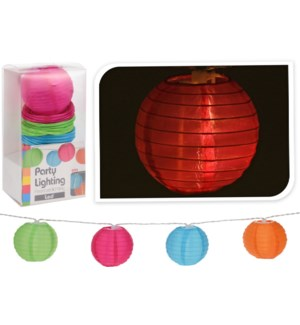 AF5000020. Chinese Lantern String 8 Asstd 7.5cmD. Asstd, (2 each: pnk,orng,blue,grn). Outdr Btry Box