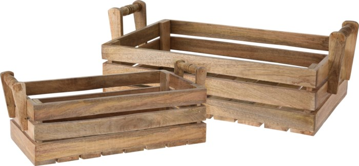 A44711000 - Crate, Mango Wood, Set/2 - ON SALE 30 percent off original price 54