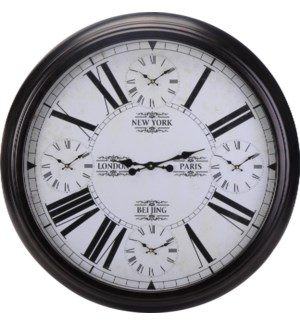 Y36400240. World Time Wall Clock Mtl 93x8cm. 5 Moves. A4Lbl w. Pic  .(units/in:1units/out:1)