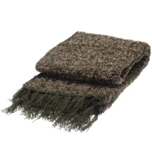 Grey Cotton Blanket w Fringe 66.9x51.2x0.2inch. On Sale 50 percent off