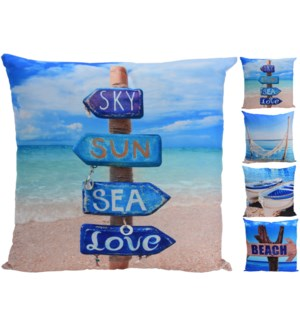Beach Life Sq. Cushions, 4/Asst, 100% polyester, 19x19 inches -*Last Chance* On sale 30 percent off!