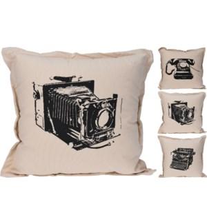 """HZ1800570 - Nostalgic Tech Print Cushion, 3/Asst, Off White, 18x18 35% cotton 65% Polyester w/zip"""