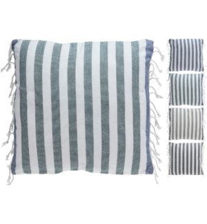 """A35821030-Breton Stripe Cushion 4/Asst, Cotton, 18 in"""