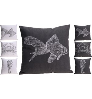 """A35830850-Oceanic Cushion, 6/Asst, BlackWhite, 18 in"""