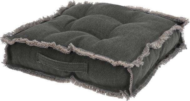 A35840210 Fringed Seat Cushion, Dk Grey, 17.7x17.7 in.