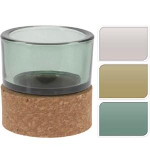 ASH300620-Tealight w/cork base, 4Asst, 3x3x3 in (Green/Amber/Grey/ Blue)