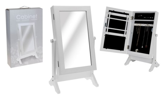 C37566400 - Vanity Mirror w/Jewellery cabinet, White, Wood, 12X20X3 in.