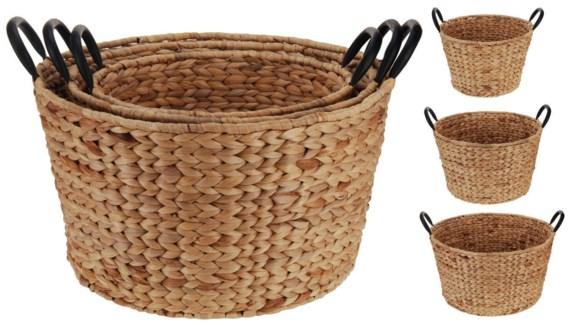 449000080. Basket Set/3, Round, Willow Rattan Metal Handles. S:21xdia33cm M:23xdia39cm L:25xdia45cm