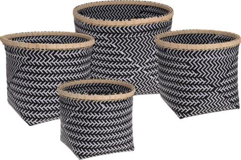 HZ1002910-Tribal Woven Basket, Set/4, Blk/wht, 15x13,13x12,12x10.6 in