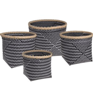 HZ1002910-Tribal Woven Basket, Set/4, Blk/wht, 15x13,13x12,12x10.6 in
