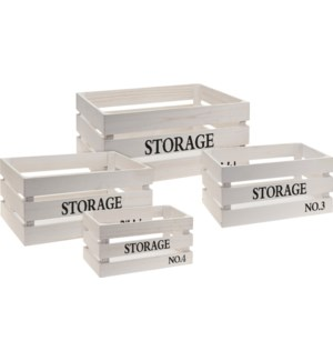 KR2000030-STORAGE Crate Set/4, White,  L: 16x12x8, M: 14x10x7 MedS: 12x8x6, S:10x6x5.5 in Last Chan