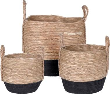 KR2000840 Black Bottom Baskets S/3, L:15x15x13 M:13x13x11 S:10x10x9 in FD