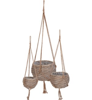 430000010-Lined Hanging Baskets Set/3, Willow, (Small: 45 in/ Med: 51 in/Large: 67 in)